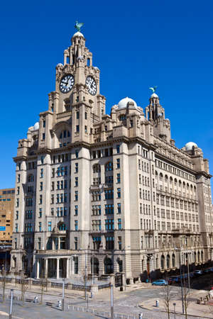 The historic Royal Liver Building in Liverpool, England. photo