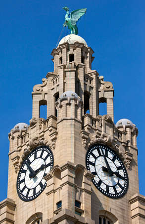 clocktower: One of the towers of the Royal Liver Building in Liverpool, England.