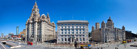 A panoramic view of the Three Graces in Liverpool  The Royal Liver Building, Cunard Building and the Port of Liverpool Building