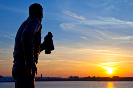 frederic: The statue of former British Royal Navy Officer Captain Frederic John Walker looking out at the Liverpool sunset
