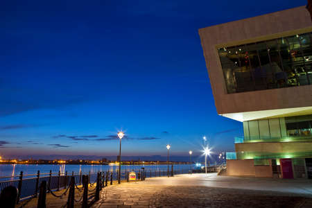 A beautiful view of the Pier Head in Liverpool   The view takes in the sights of the river Mersey and the modern Museum of Liverpool
