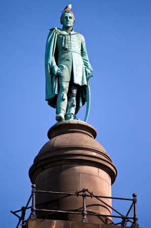 A statue of the Duke of Wellington situated on top of Wellingtons Column in Liverpool
