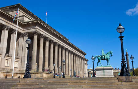 A view taking in the sights of St  Georges Hall and Prince Albert Statue in Liverpool
