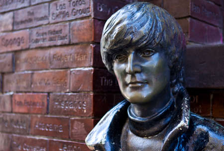 A statue of John Lennon situated opposite the historic Cavern Club in Liverpool