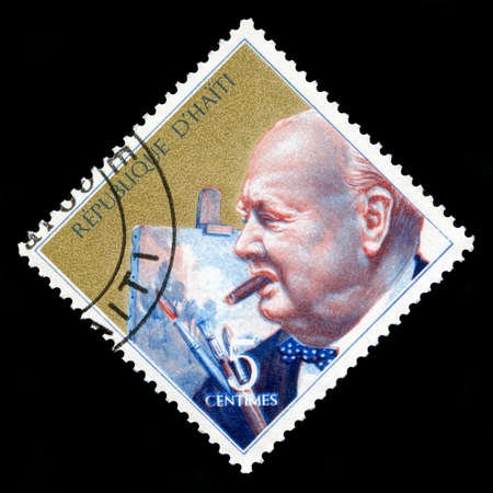 minister of war: HAITI, CIRCA 1969: A vintage Postage stamp from Haiti displaying a portrait British Ex Prime Minister Sir Winston Churchill, circa 1969. Editorial