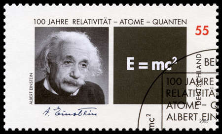 albert: GERMANY, CIRCA 2005 - A German Postage Stamp featuring a portrait of Albert Einstein, circa 2005.