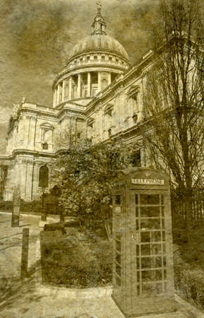 Vintage Antigue Picture of St. Pauls Cathedral in London. photo