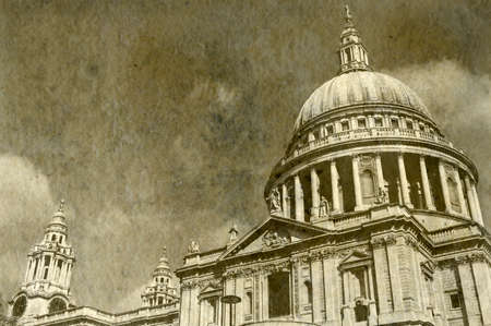 st pauls: Vintage Antigue Picture of St. Pauls Cathedral in London. Stock Photo