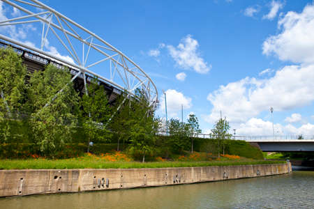 stadia: A view of the London Olympic Stadium and the City Mill River. Editorial