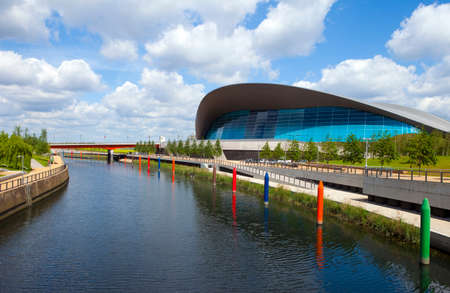 stadia: The impressive Aquatics Centre located in the Queen Elizabeth Olympic Park beside the Waterworks River in Stratford, London. Editorial