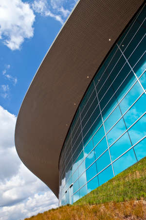 The impressive Aquatics Centre located in the Queen Elizabeth Olympic Park in Stratford, London.
