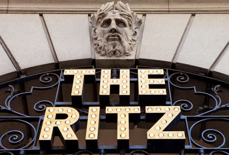 LONDON, UK - MAY 15TH 2014: A sign for the historic Ritz Hotel in London.