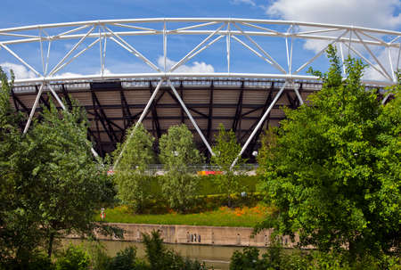 A view of the London Olympic Stadium and the City Mill River.
