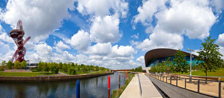 waterworks: A panoramic view of the Queen Elizabeth Olympic Park taking in sights including the ArcelorMittal Orbit, Olympic Stadium, Waterworks River and the Aquatics Centre. Editorial