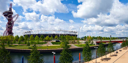 A panoramic view of the Queen Elizabeth Olympic Park in London.