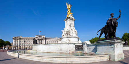 LONDON, UK - MAY 16TH 2014: A panoramic view of Buckingham Palace and the Victoria Memorial in London on 16th May 2014.