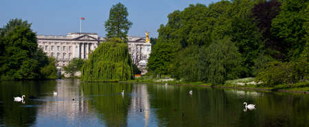 The beautiful view of Buckingham Palace from St. Jamess Park in London.