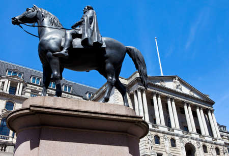 wellesley: The Duke of Wellington statue situated outside the Bank of England in London.