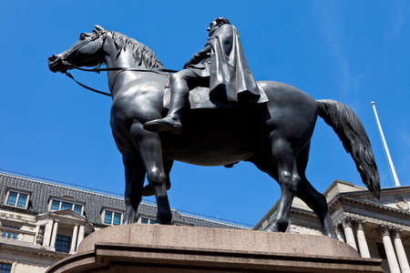 The Duke of Wellington statue situated outside the Bank of England in London.