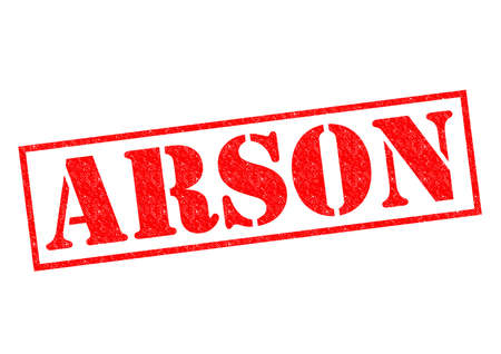 arson: ARSON red Rubber Stamp over a white background.