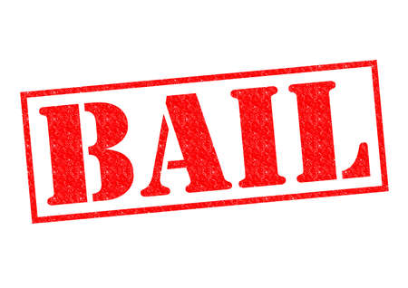bail: BAIL red Rubber Stamp over a white background.