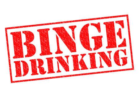 risky behavior: BINGE DRINKING red Rubber Stamp over a white background.