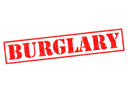 breakin: BURGLARY red Rubber Stamp over a white background.