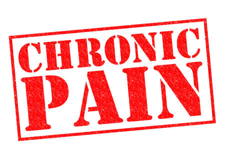 poorly: CHRONIC PAIN red Rubber Stamp over a white background.