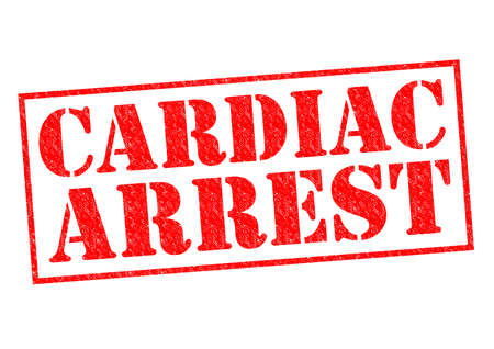 Cardiac Arrest: CARDIAC ARREST red Rubber Stamp over a white background.