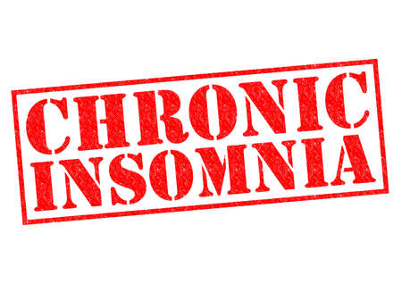 insomnia: CHRONIC INSOMNIA red Rubber Stamp over a white background. Stock Photo