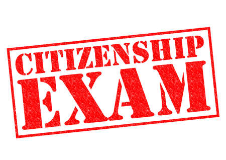 citizenship: CITIZENSHIP EXAM red Rubber Stamp over a white background.