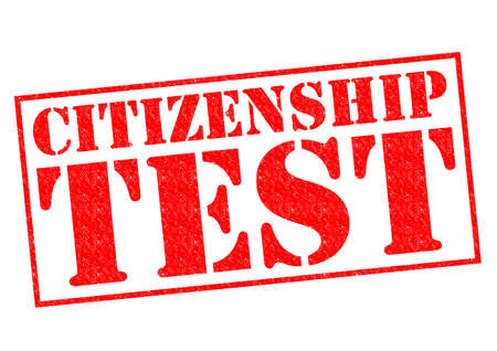 citizenship: CITIZENSHIP TEST red Rubber Stamp over a white background. Stock Photo