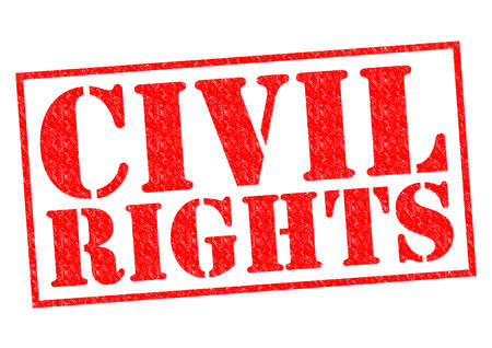 liberties: CIVIL RIGHTS red Rubber Stamp over a white background.