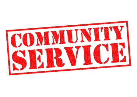 白い背景の上のコミュニティ サービス赤ゴム印。