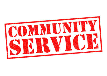 over: COMMUNITY SERVICE red Rubber Stamp over a white background. Stock Photo