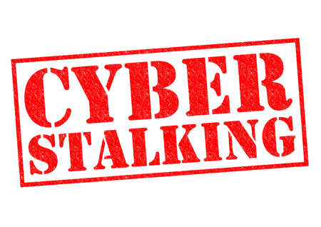 stalking: CYBER STALKING red Rubber Stamp over a white background.