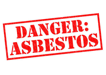 mesothelioma: DANGER: ASBESTOS red Rubber Stamp over a white background. Stock Photo