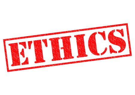 rightness: ETHICS red Rubber Stamp over a white background.