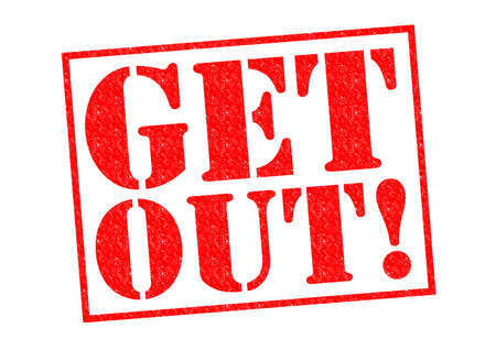 get out: GET OUT! red Rubber Stamp over a white background.