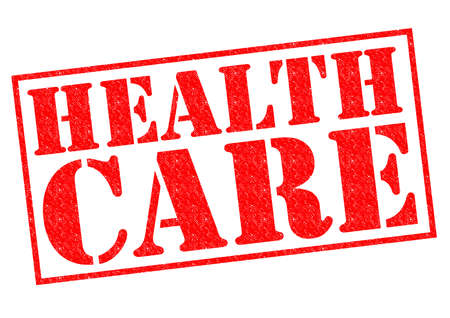 nhs: HEALTH CARE red Rubber Stamp over a white background. Stock Photo