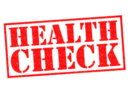 health check: HEALTH CHECK red Rubber Stamp over a white background.