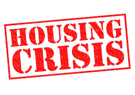 housing crisis: HOUSING CRISIS red Rubber Stamp over a white background. Stock Photo