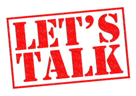 lets: LETS TALK red Rubber Stamp over a white background. Stock Photo