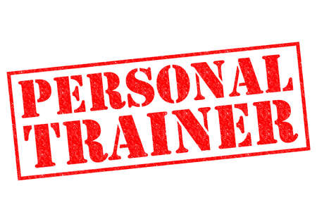 assessments: PERSONAL TRAINER red Rubber Stamp over a white background. Stock Photo