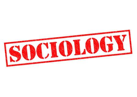 sociologia: Goma roja SOCIOLOG�A sello sobre un fondo blanco.