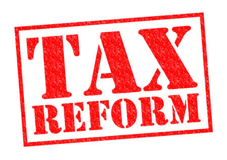 TAX REFORM red Rubber Stamp over a white background. Stock Photo