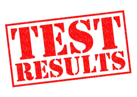 TEST RESULTS red Rubber Stamp over a white background. photo