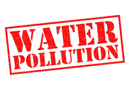 damaging: WATER POLLUTION red Rubber Stamp over a white background. Stock Photo