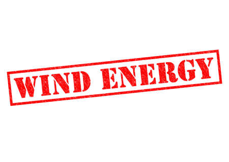 greenhouse gas: WIND ENERGY red Rubber Stamp over a white background. Stock Photo