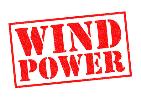 greenhouse gas: WIND POWER red Rubber Stamp over a white background. Stock Photo